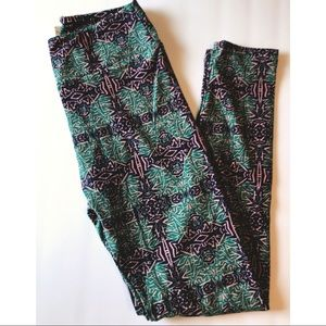 Blue/Pink/Green Aztec Tribal Lularoe Leggings OS